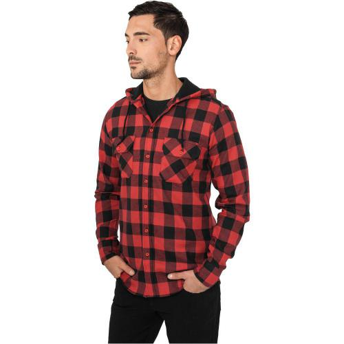 Urban Classics Hooded Checked Flanell Shirt Blk Red f2dd8828b63