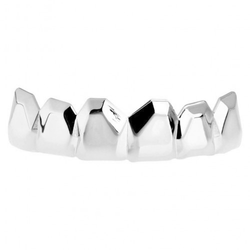 Iced Out One Size Fits All Bling Grillz - EDGY TOP - silber
