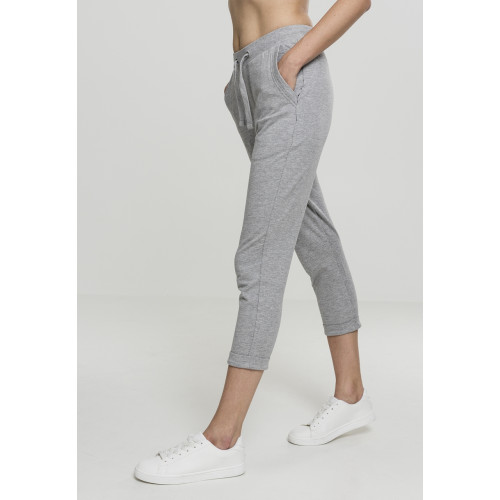 Urban Classics Ladies Open Edge Terry Turn Up Pants Grey
