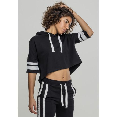 Urban Classics Ladies Taped Short Sleeve Hoody Black