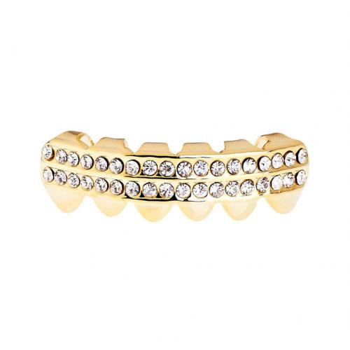 Iced Out One Size Fits All Bling Grillz - DOUBLE DECK BOTTOM - Gold