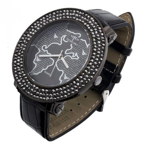 Iced Out 3 Row Pave Watch - WORLD hem black