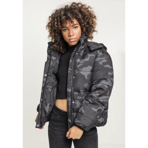 Urban Classics Ladies Boyfriend Camo Puffer Jacket Darkcamo