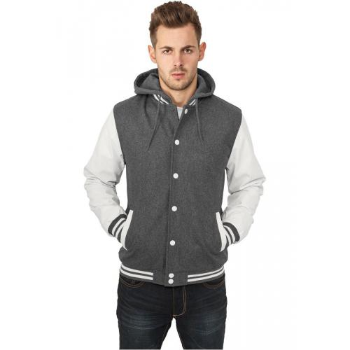 Urban Classics Hooded Oldschool College Jacket Grey White