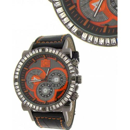Iced Out Bling Leather Watch - DYNAMIC black / red