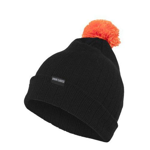 Urban Classics Neon Contrast Bobble Beanie Black Orange