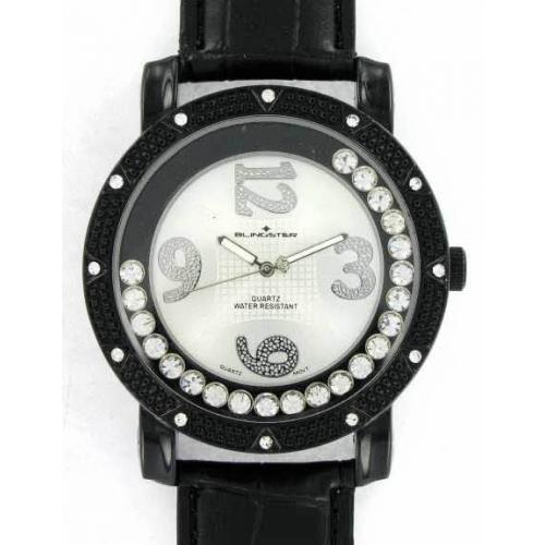 Iced Out Bling Leather Watch - TACOMA Floating Style black