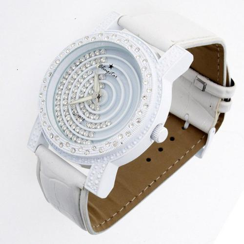 Iced Out Bling DESIGNER Leather Watch - MULTI FLOATING whity