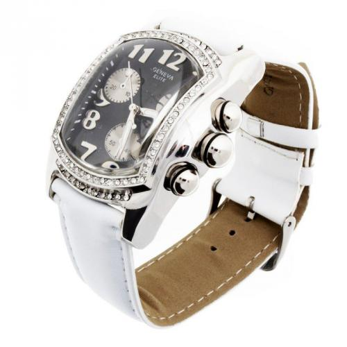 Iced Out Bling Lupah Watch - white / black