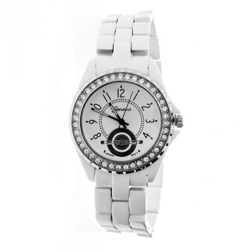 Iced Out Bling Ceramic Style Watch white