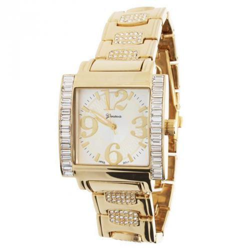 Iced Out Bling L-Square Watch - Gold