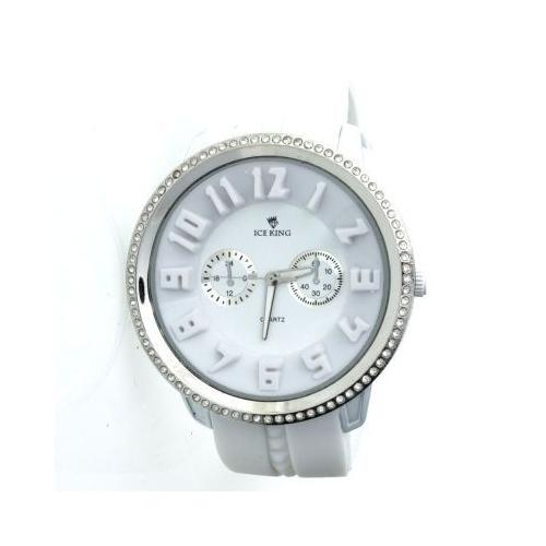 Iced Out Bling Silicone Watch - CARBON ICE white / silver