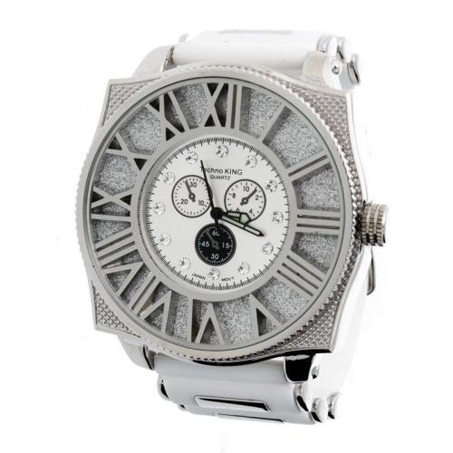 Iced Out Bling CHRONO DIAMOND Rubber Band Watch - silver