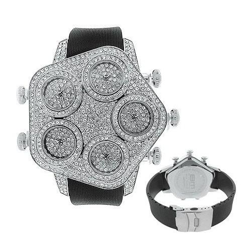 Iced Out 5 Timezones Watch - MEGA BLING silver
