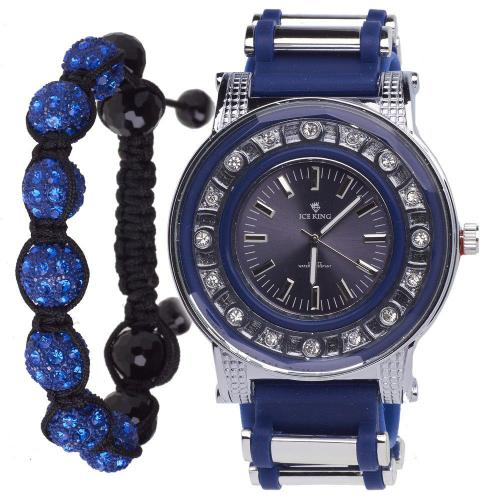 Iced Out Bling Shamballa Watch Set - blue