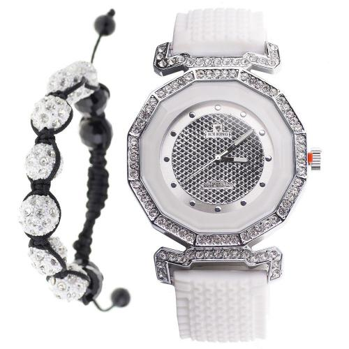 Iced Out Bling Shamballa Watch SQ Set - white