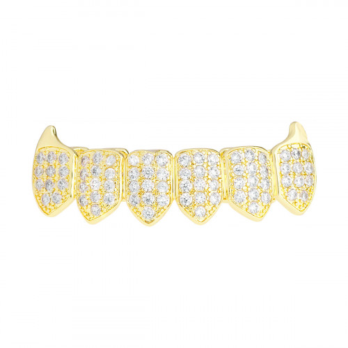 Iced Out Grillz - Gold - One size fits all - VAMPIRE ZIRCONIA Bottom Iced  Out Grillz - Gold - One size fits all - VAMPIRE ZIRCONIA Bottom