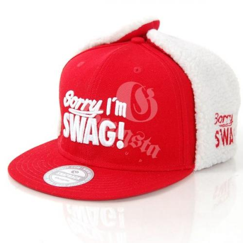 GangstaGroup Sorry I`m Swag! Dog Ear Winter Cap Red