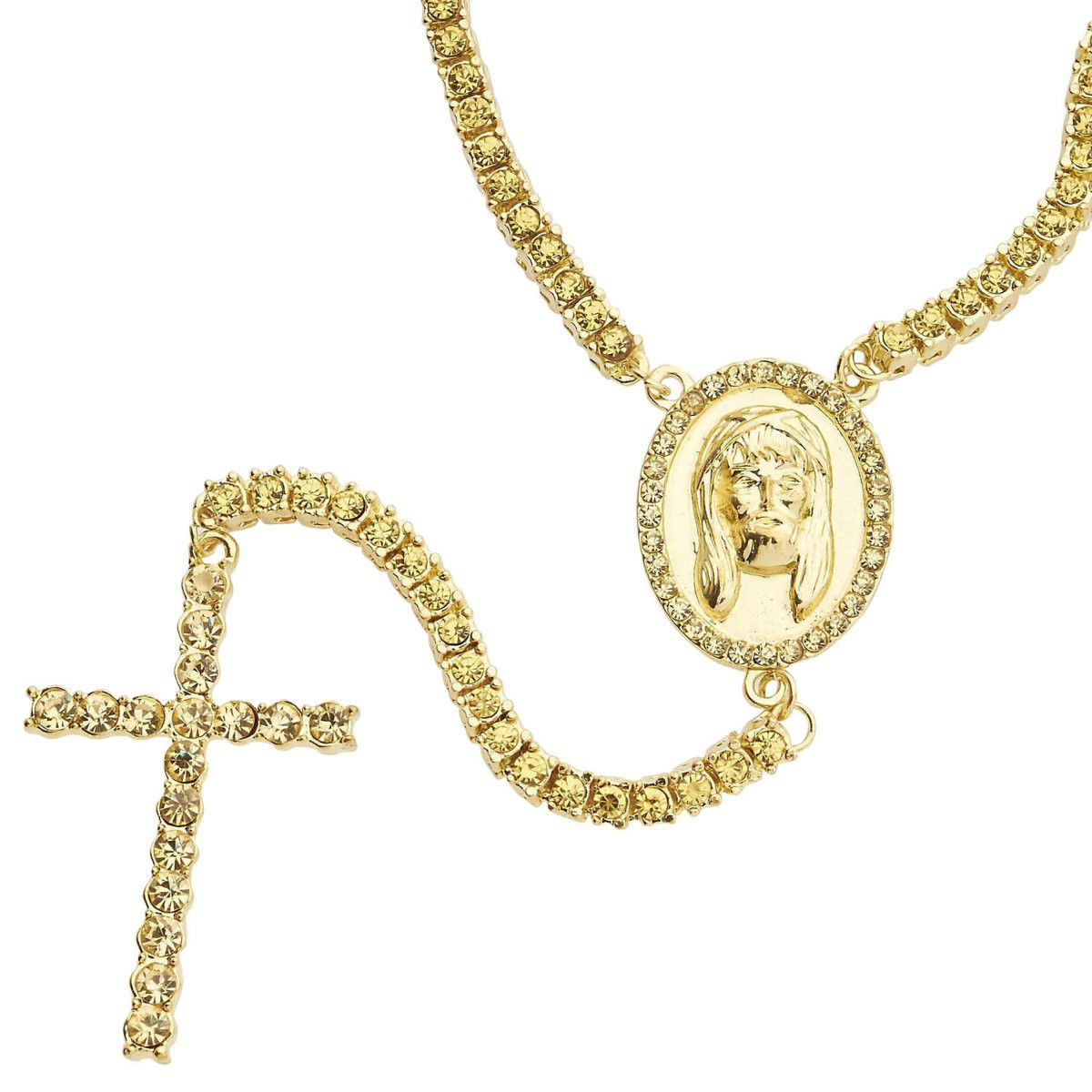 Iced Out Bling XXL SHIINIG ROSARY Chain - gold / gold - Uni / zlatá