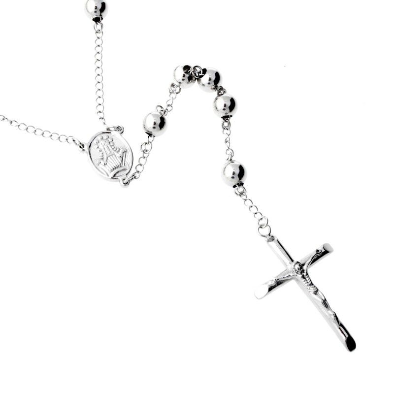 Iced Out Bling Stainless Steel Rosary Chain - CROSS - Uni / strieborná