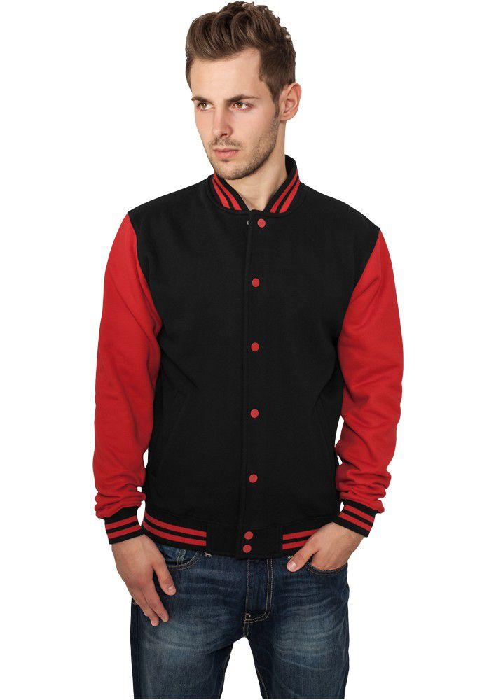 Urban Classics 2-tone College Sweatjacket Blk Rd - M / čierno-červená