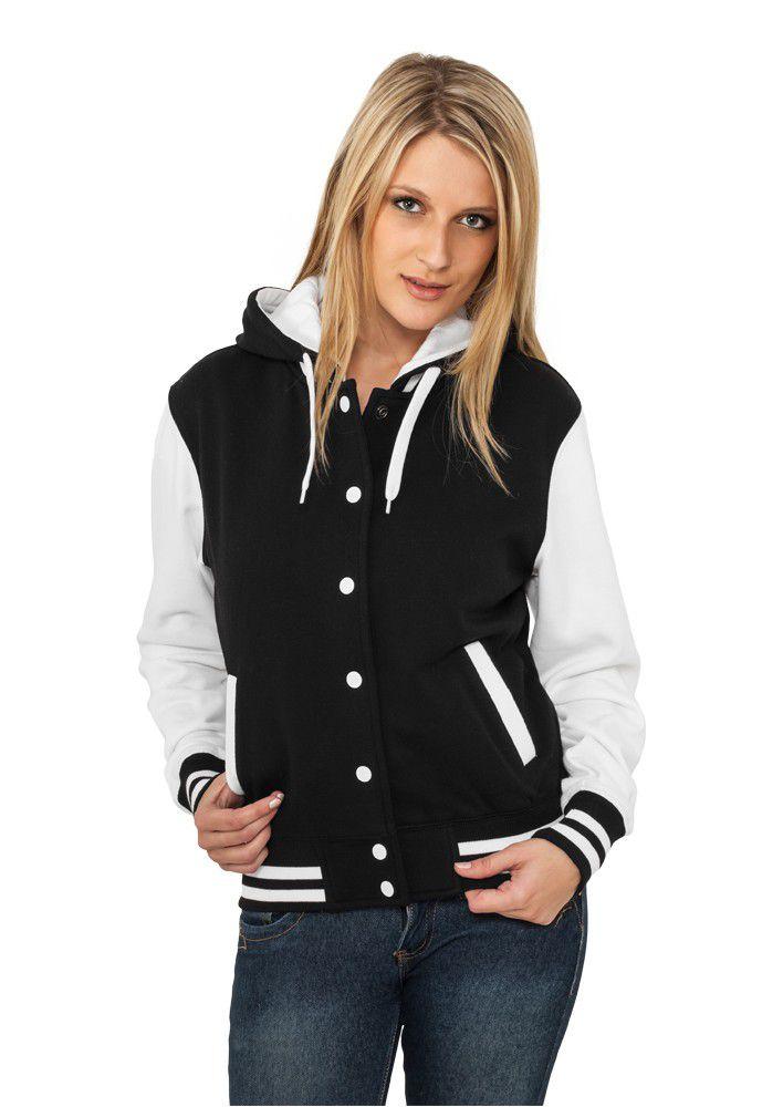 Urban Classics Ladies Hooded College Sweatjacket Black/white - S / čierno-biela