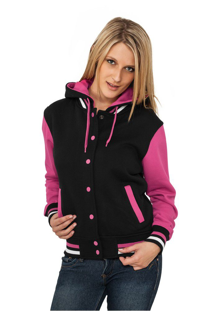 Urban Classics Ladies Hooded College Sweatjacket Black/fuchsia - M / čierno-ružová