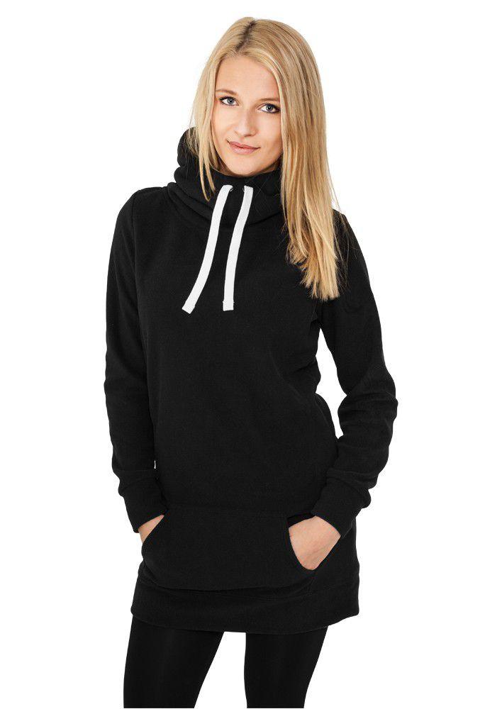 Urban Classics Ladies Long Polar Hoody Black - L / čierna