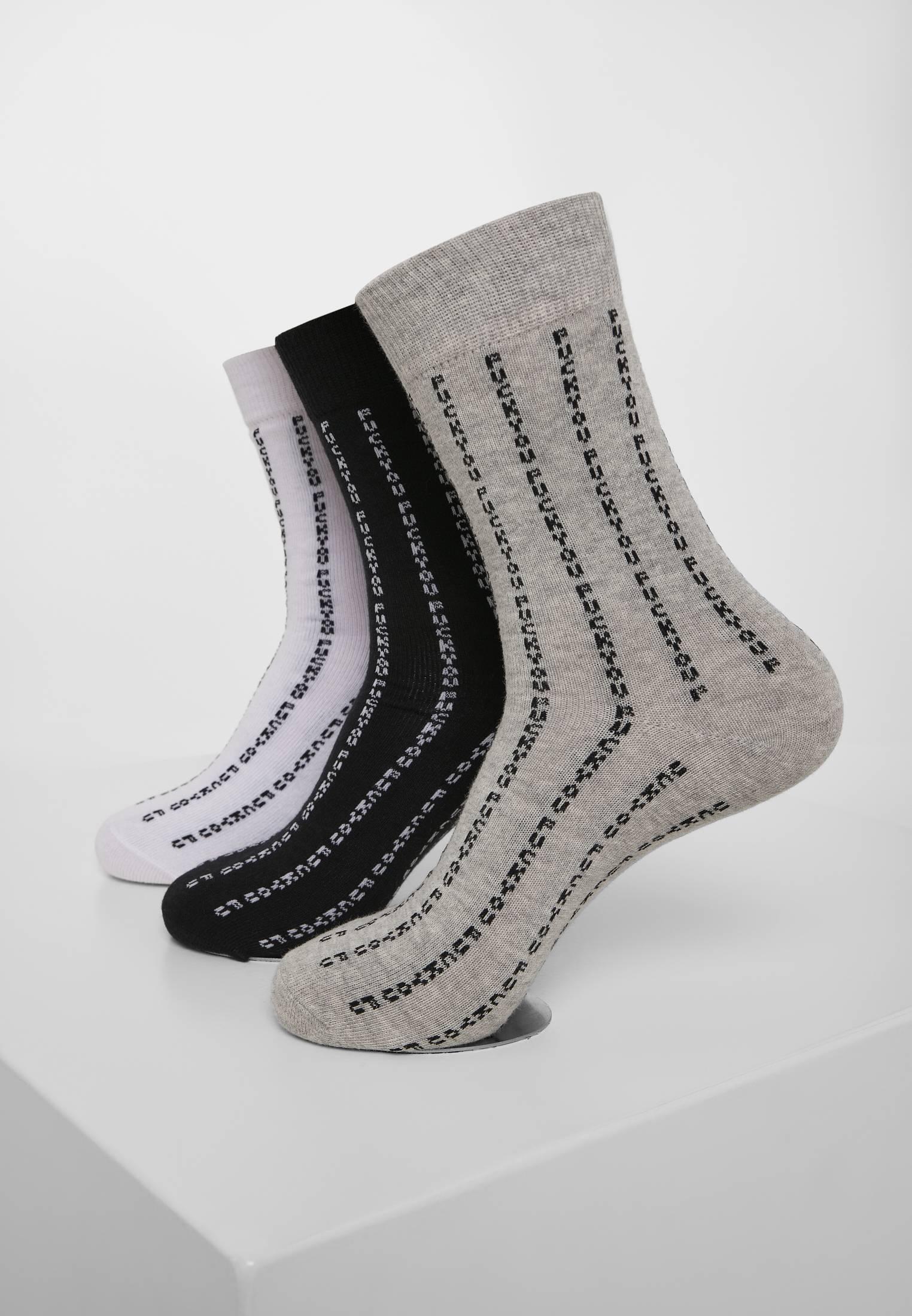 Mister Tee Fuck You Socks 3-Pack black/grey/white - 39-42