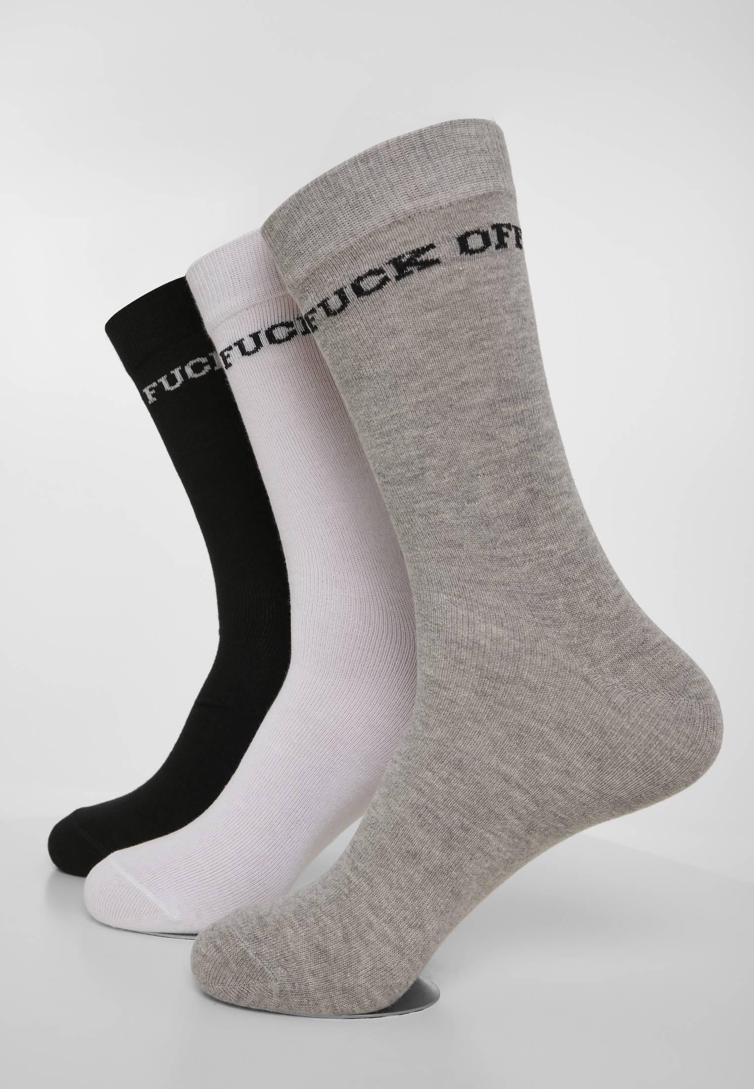 Mister Tee Fuck Off Socks 3-Pack black/grey/white - 43-46