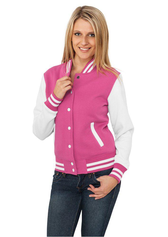 Urban Classics Ladies 2-tone College Sweatjacket Fuchsia White - L / ružovo-biela