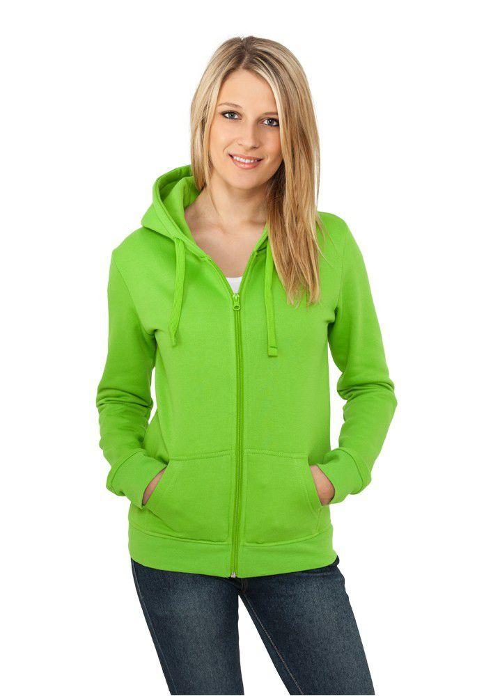 Urban Classics Ladies Zip Hoody Lgr - XL / limetková
