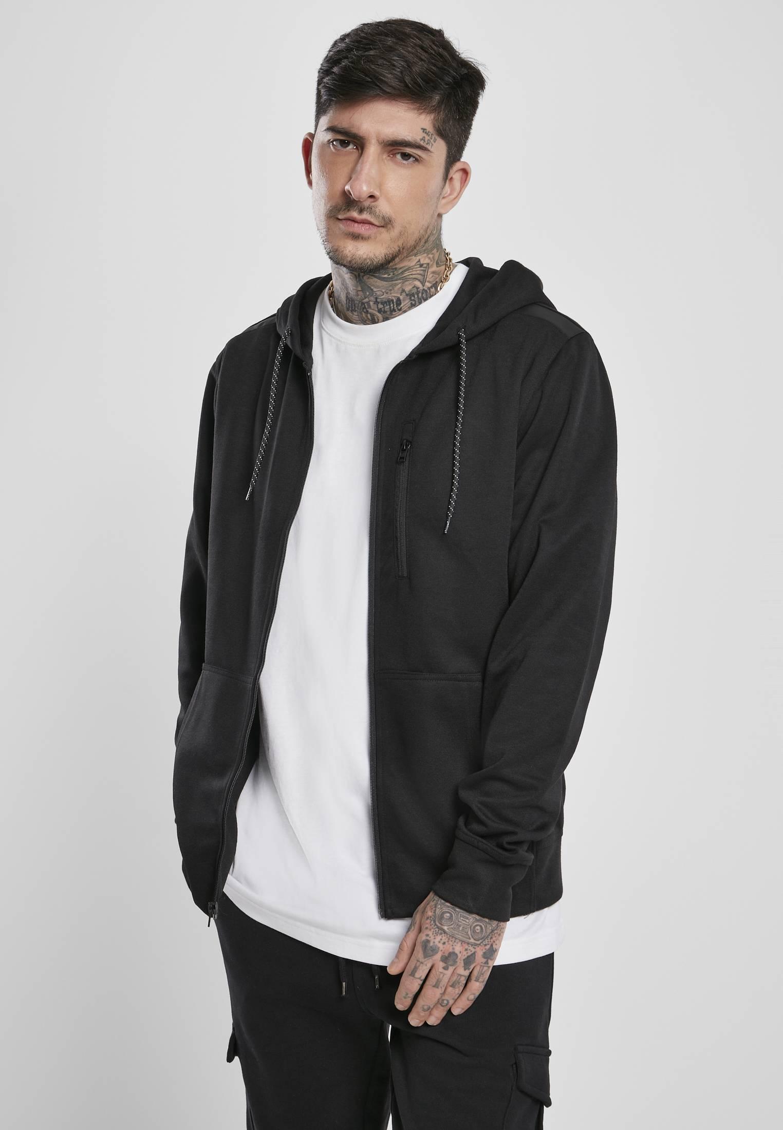 Urban Classics Taped Tech Fleece Full Zip Hoody black - XXL