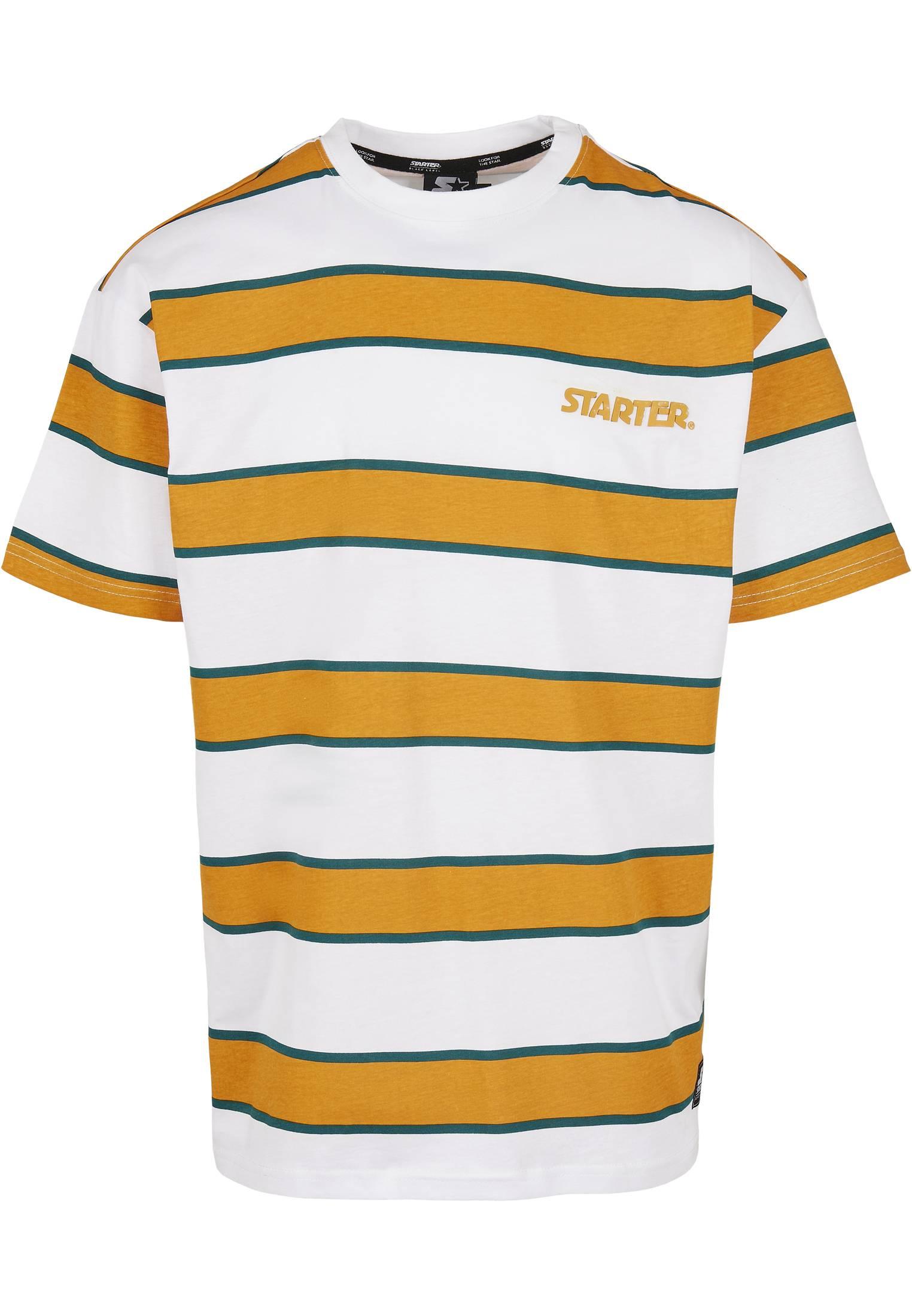 Urban Classics Starter Logo Striped Tee white/yellow - L