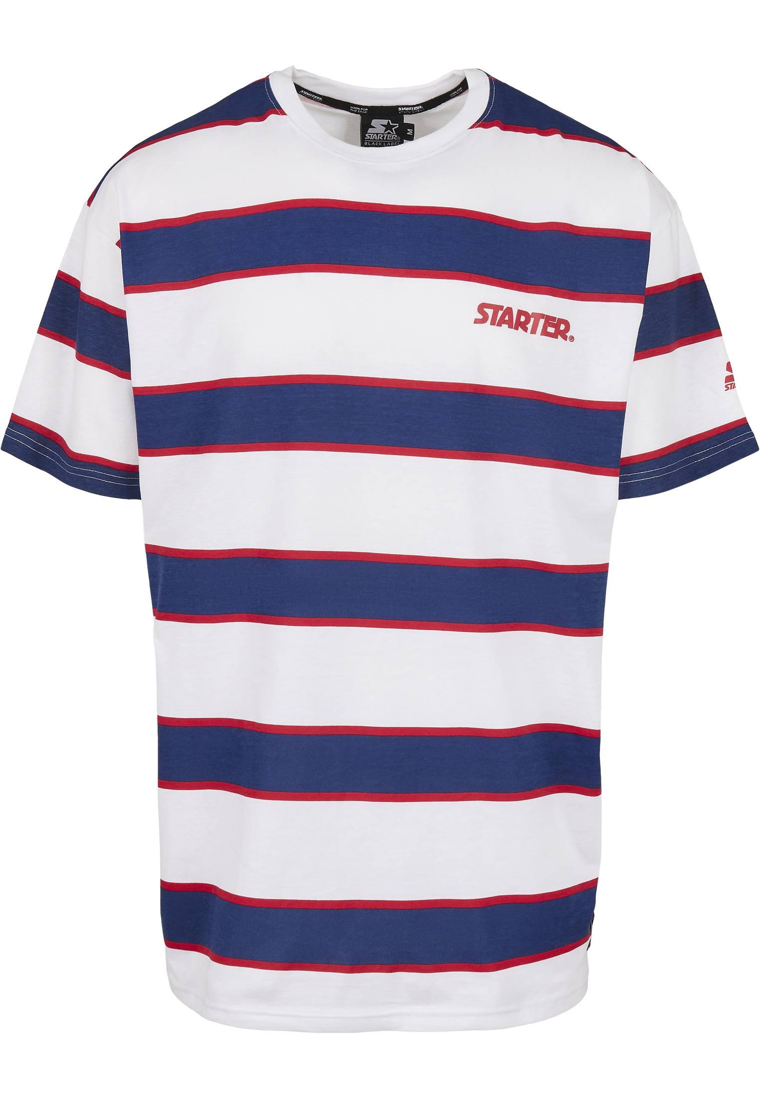 Urban Classics Starter Logo Striped Tee white/blue - L