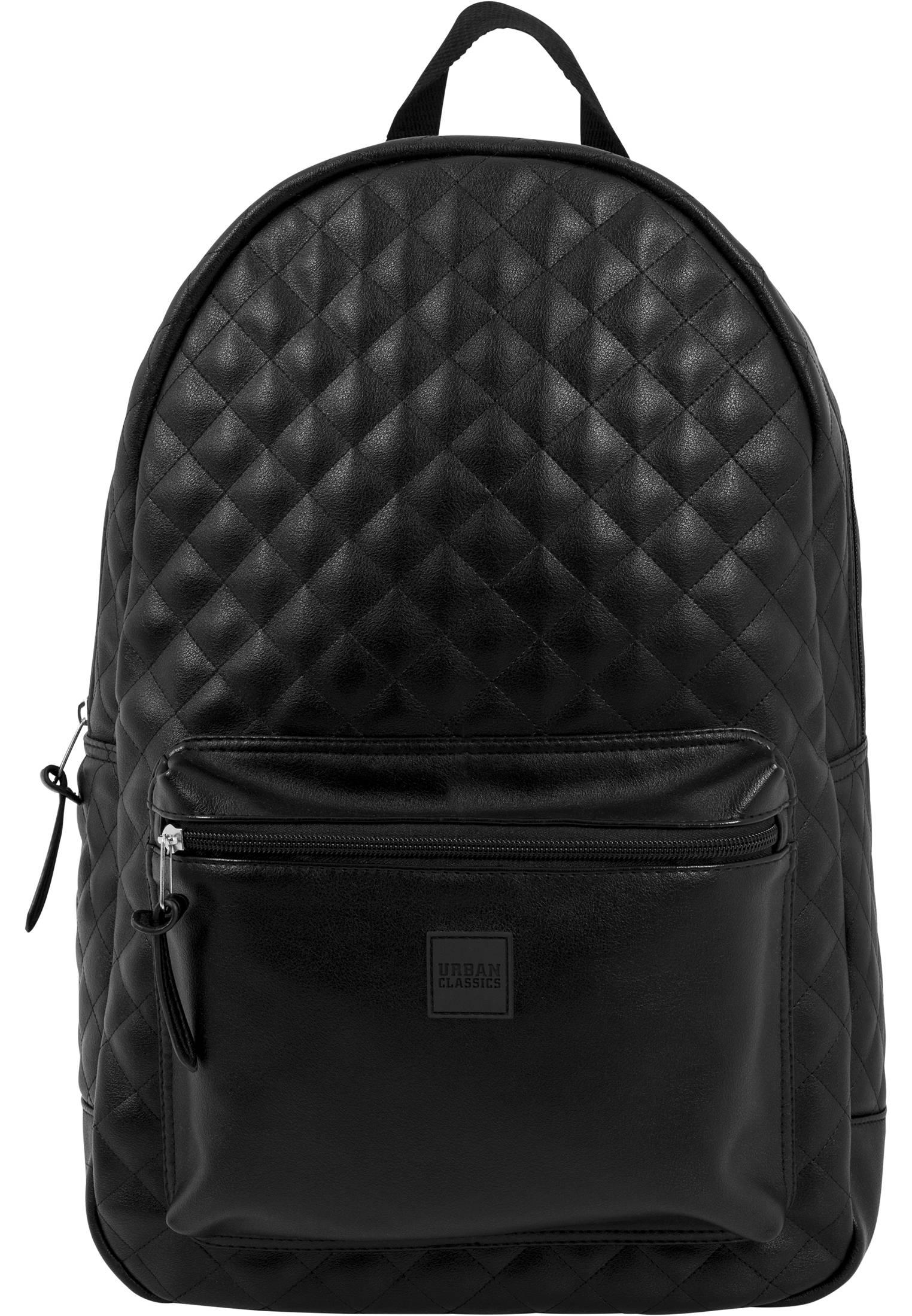 Urban Classics Diamond Quilt Leather Imitation Backpack black - One Size
