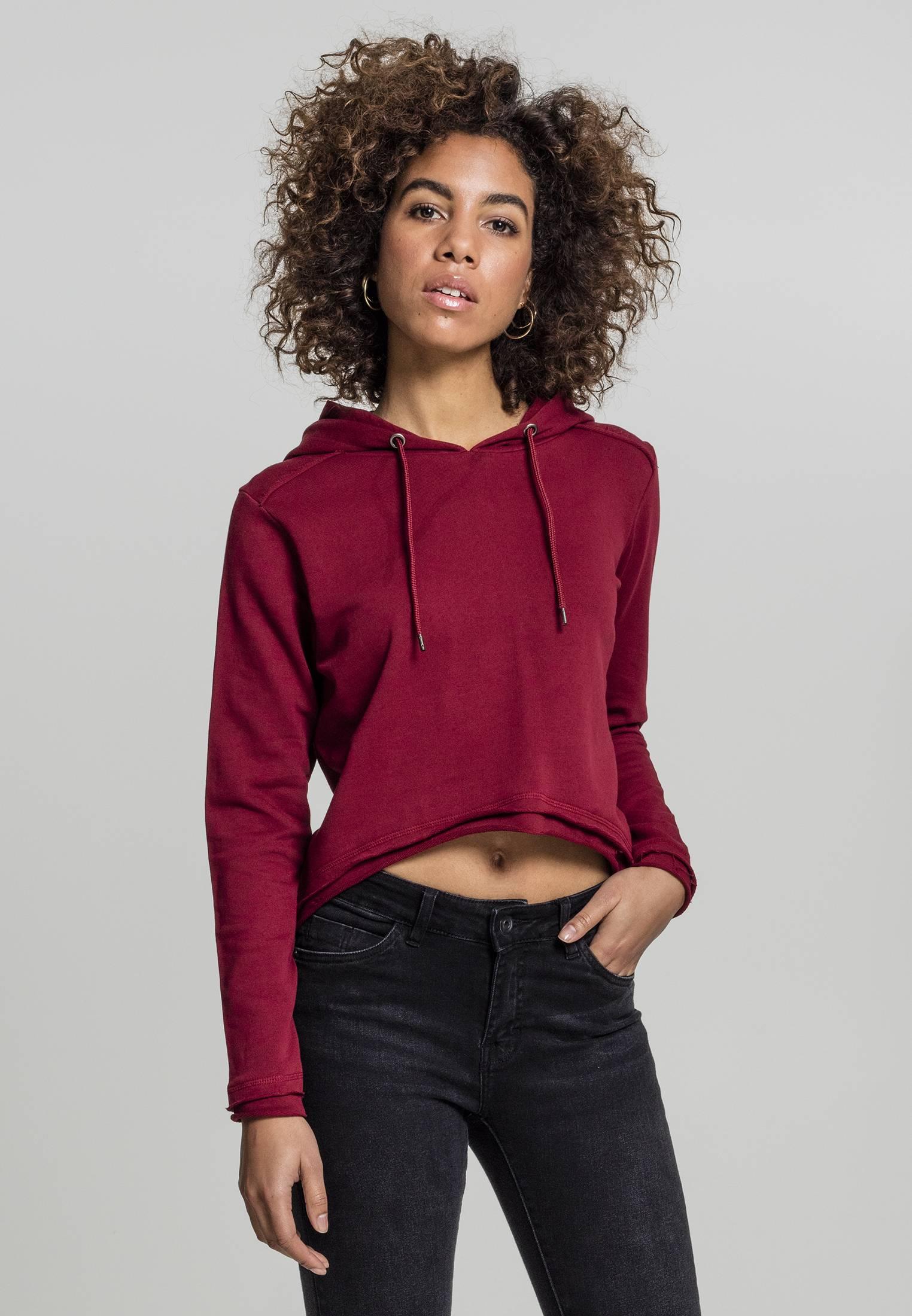 Urban Classics Ladies Cropped Terry Hoody burgundy - S