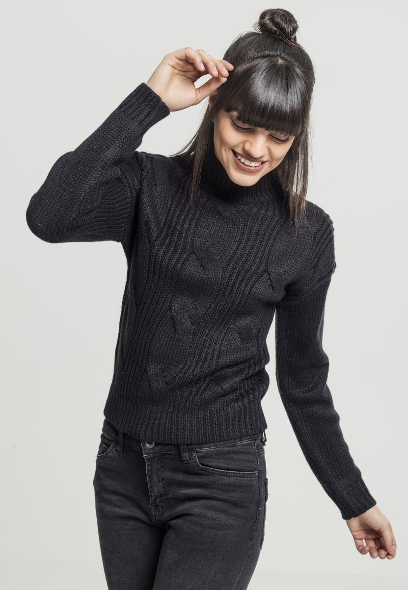 Urban Classics Ladies Short Turtleneck Sweater black - L