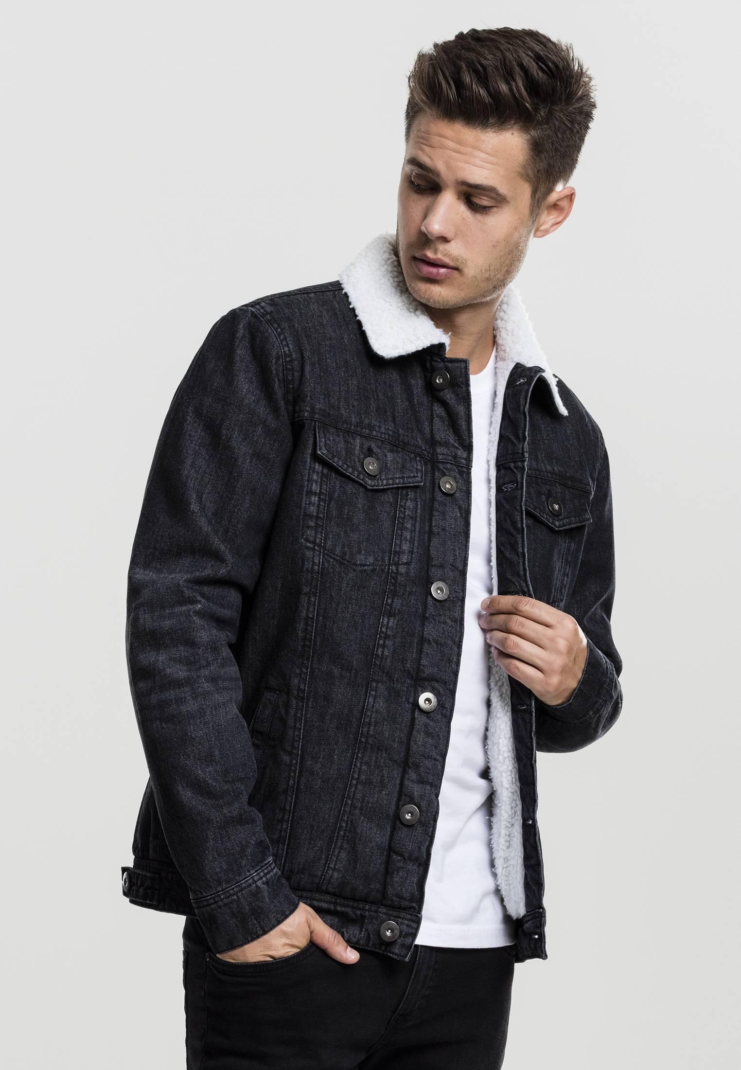 Urban Classics Sherpa Denim Jacket black washed - S