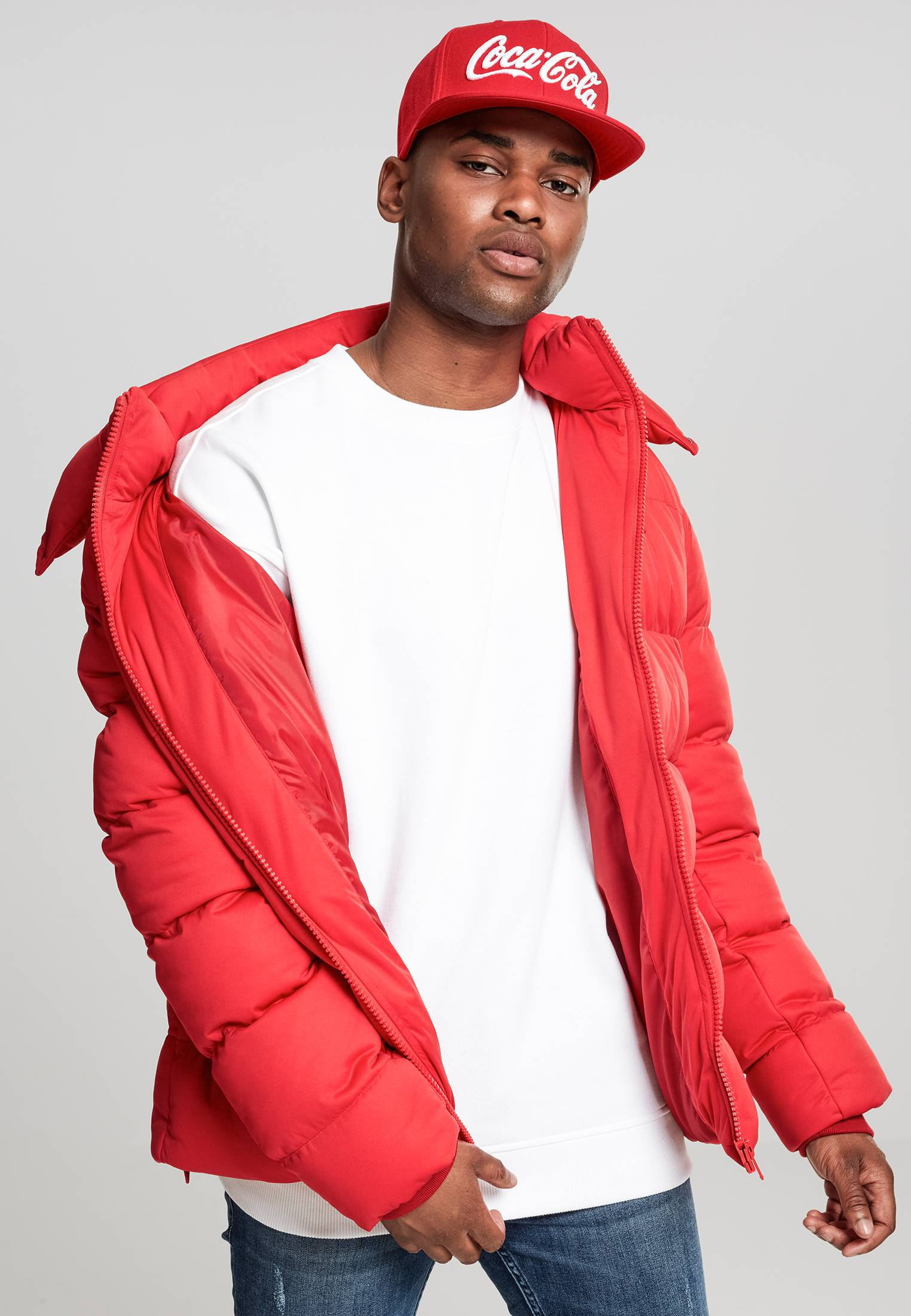 Urban Classics Hooded Boxy Puffer Jacket fire red - XXL