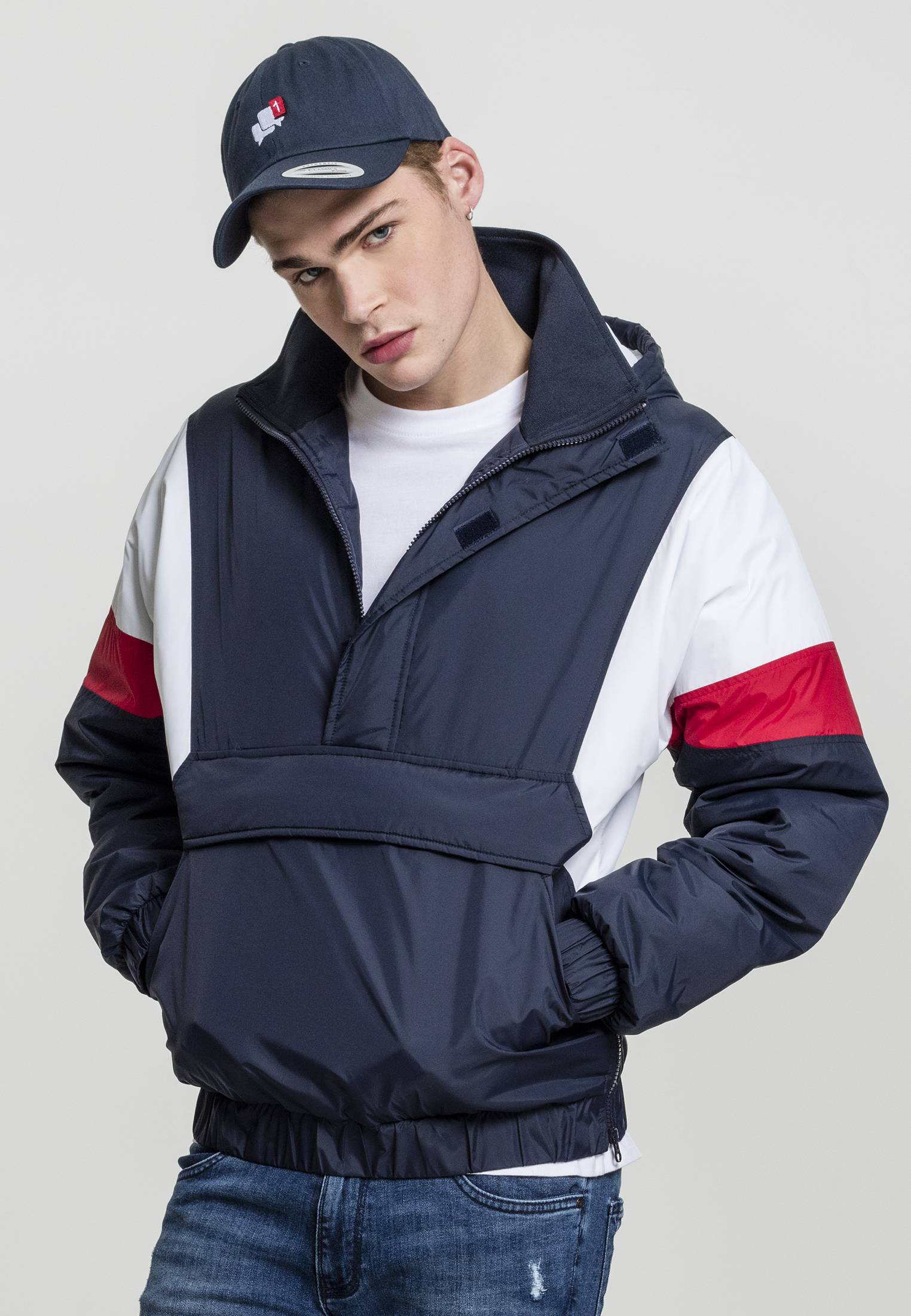 Urban Classics 3-Tone Pull Over Jacket navy/white/fire red - S