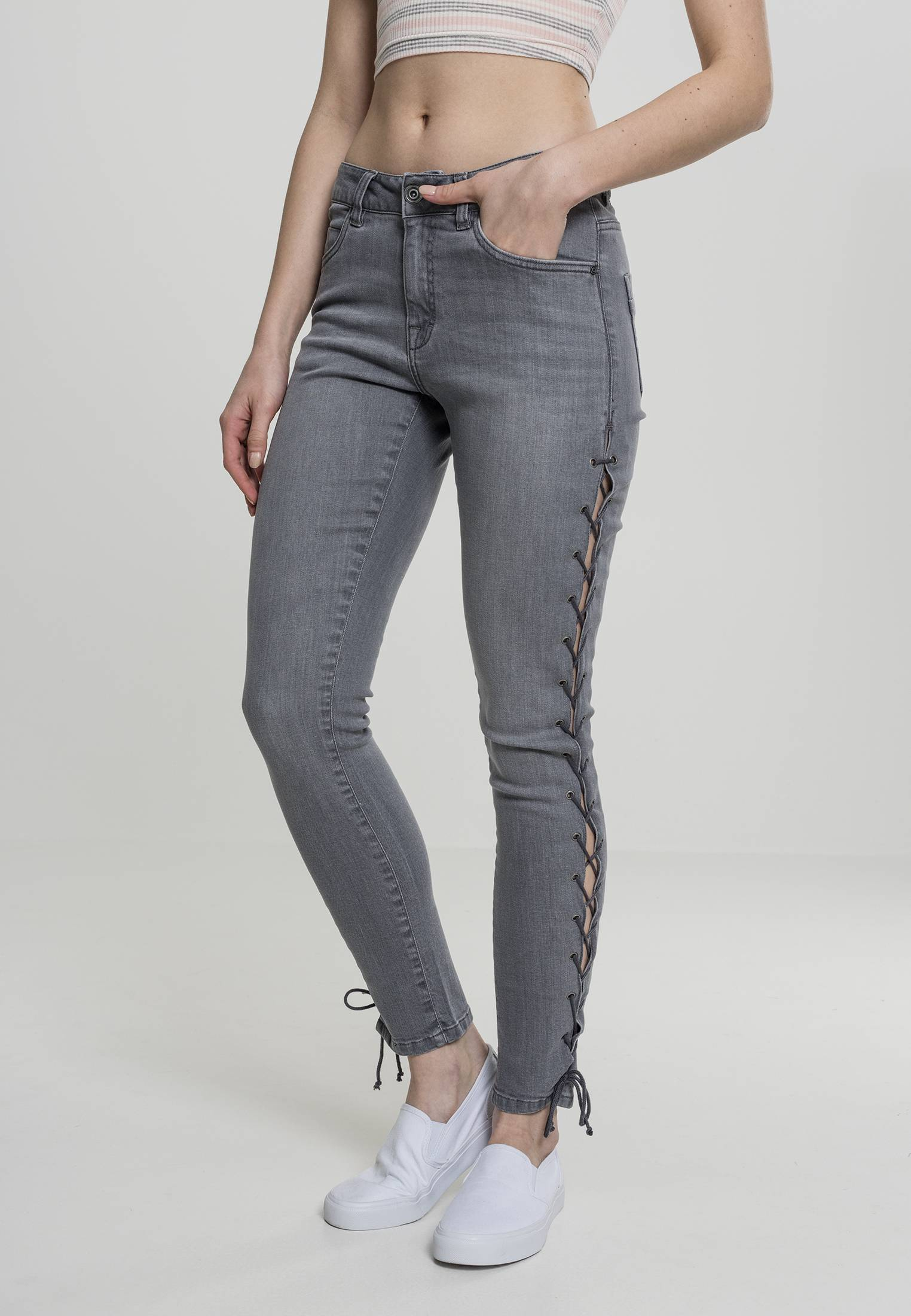 Urban Classics Ladies Denim Lace Up Skinny Pants grey - 26