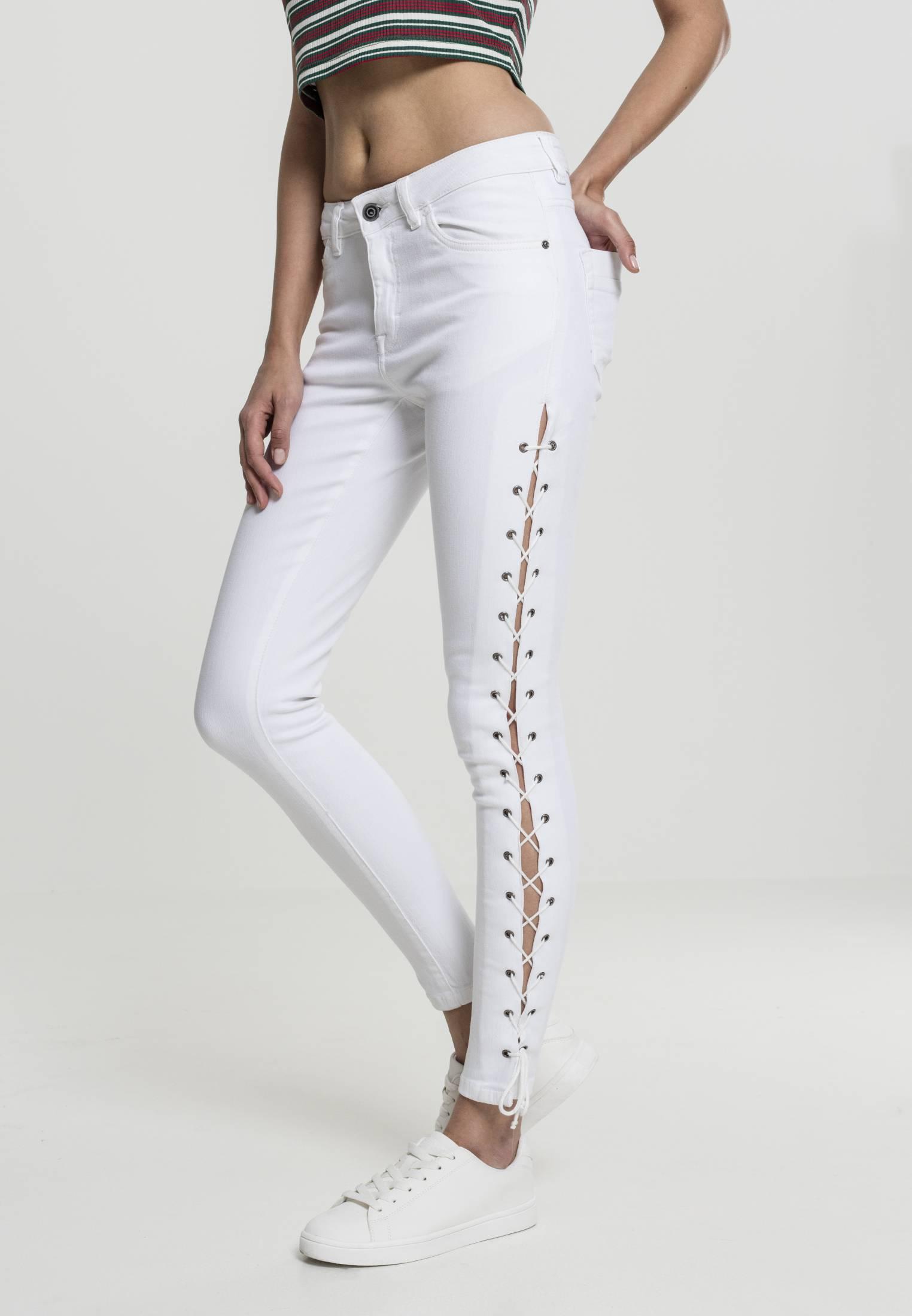 Urban Classics Ladies Denim Lace Up Skinny Pants white - 26