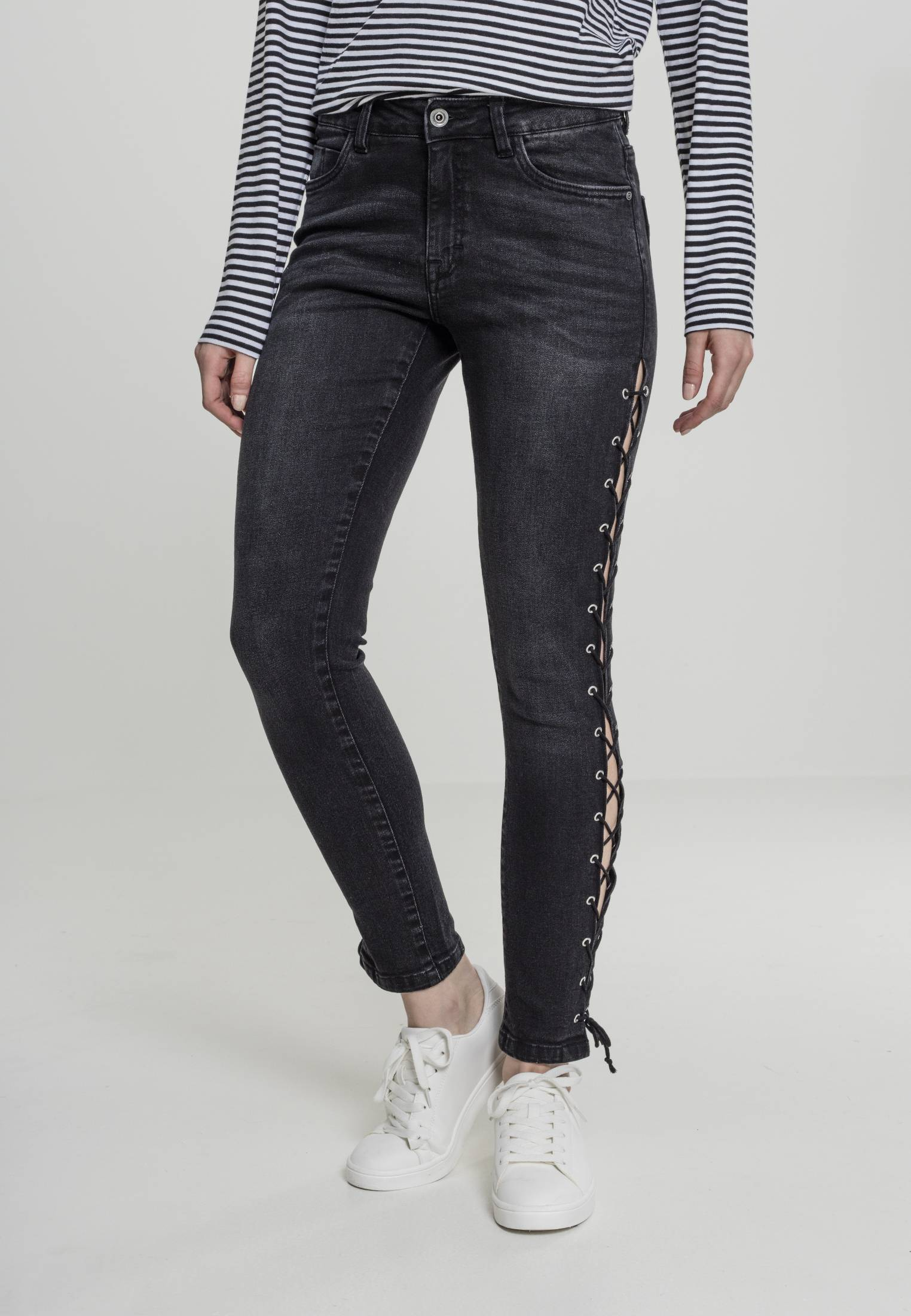 Urban Classics Ladies Denim Lace Up Skinny Pants black washed - 26