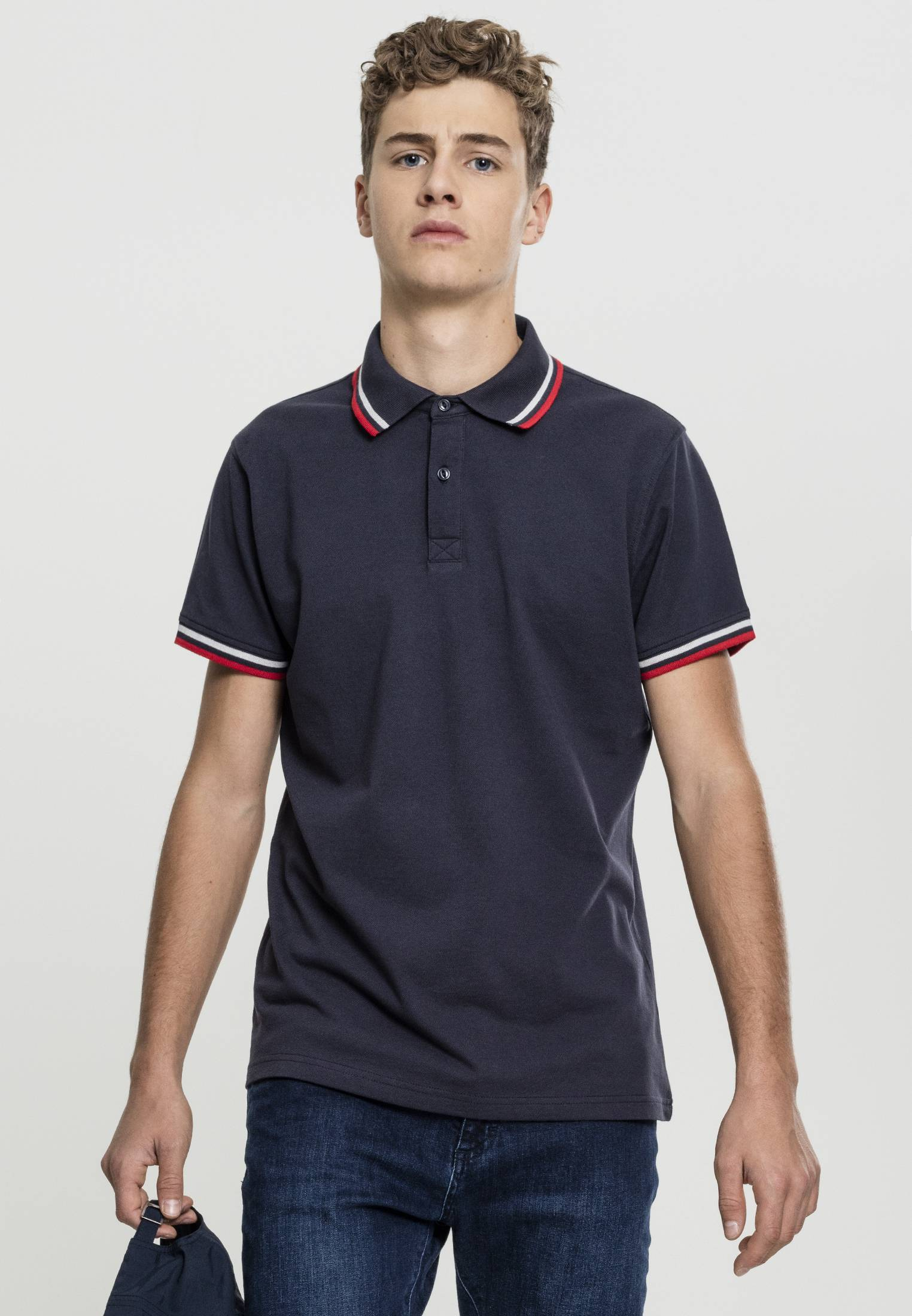 Urban Classic Double Stripe Poloshirt navy/white/fire red - S