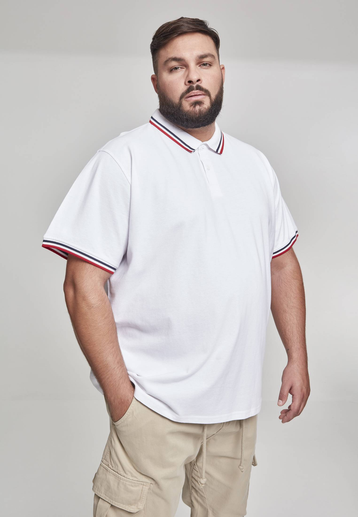 Urban Classic Double Stripe Poloshirt white/navy/fire red - S