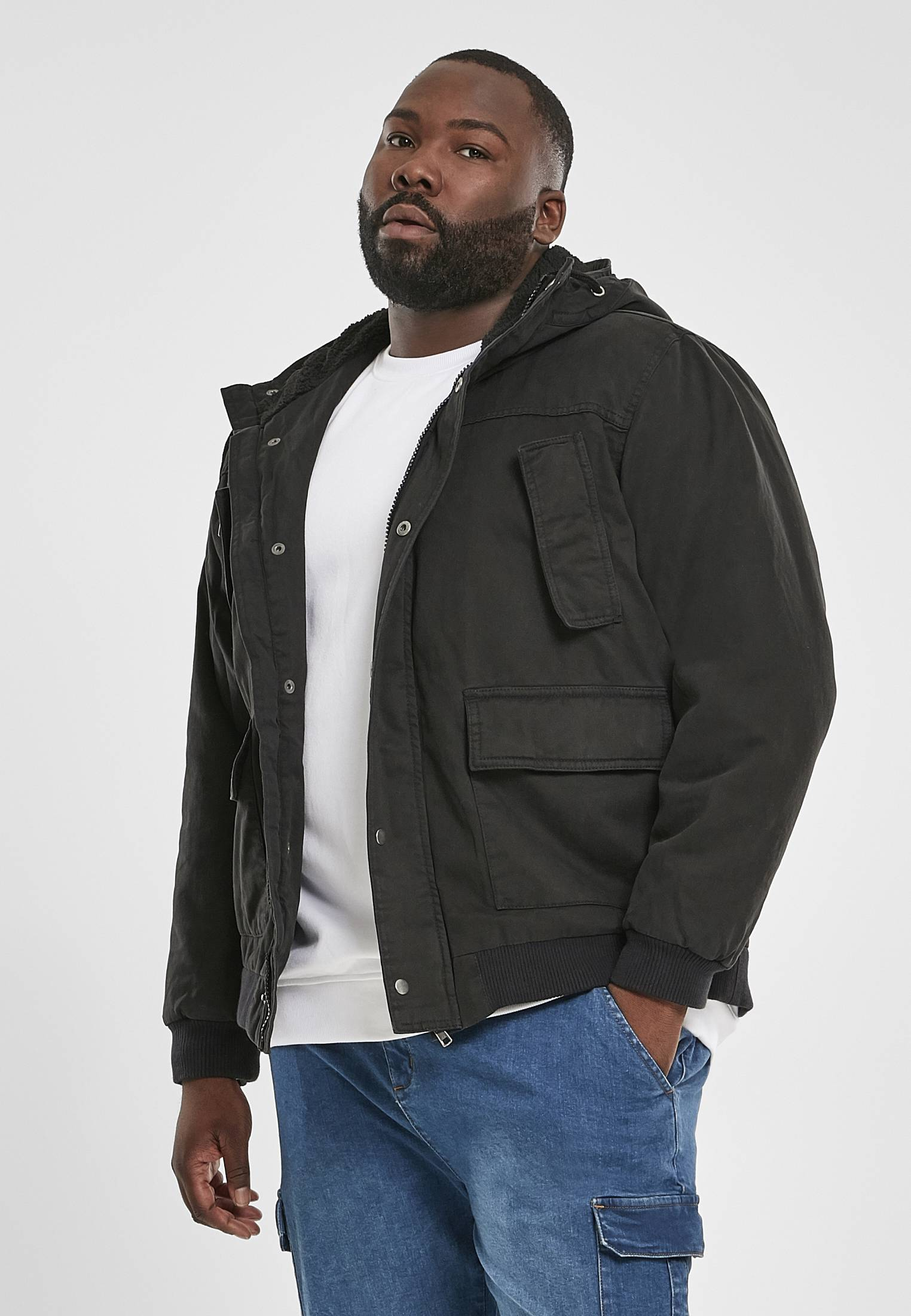Urban Classics Hooded Cotton Jacket black - 4XL