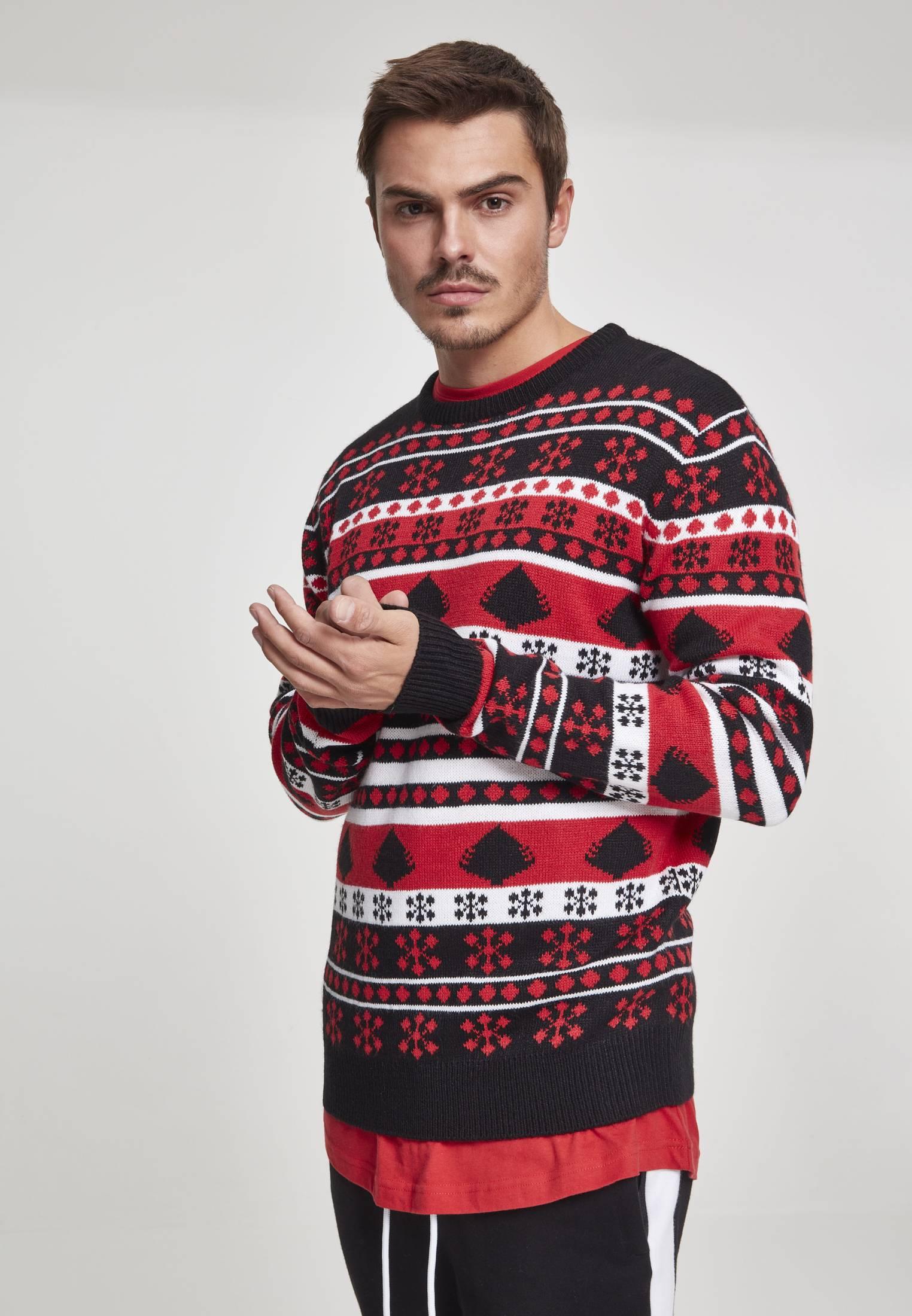 Urban Classics Snowflake Christmas Tree Sweater black/fire red/white - M