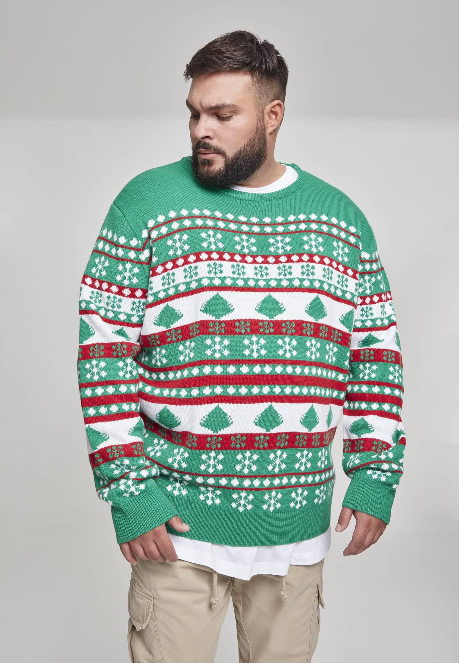 Urban Classics Snowflake Christmas Tree Sweater treegreen/white/firered - M