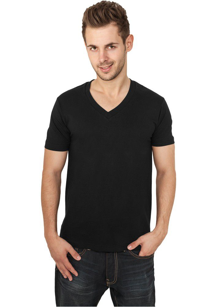 Urban Classics Basic V-Neck Tee Black - L / čierna